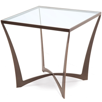 Pictured here is the Square Lotus End Table with modern iron table base and inlaid glass top. Available in several custom iron finishes to fit your decor.