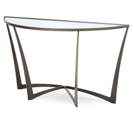 Pictured is the Charleston Forge manufactured Lotus Console Table that measures 55-in x 18-in x 31.75-in with custom iron finishes and table top options to choose from.