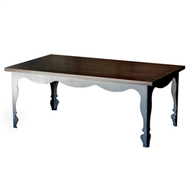 Pictured is the Paris Cocktail Table which measures 48-in by 28-in by 19-in with custom iron finishes and table top options to choose from.