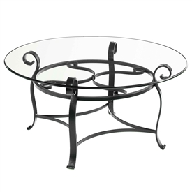 Pictured is the Camino 42-in Round Cocktail Table which measures 42-in dia. by 20.75-in high, with custom iron finishes and table top options to choose from.