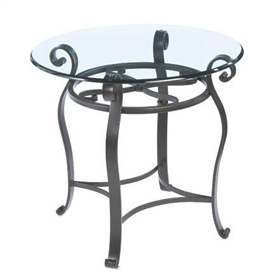 Pictured here is the forged iron Camino Round End Table available in numerous fine iron finishes and table tops to choose from.