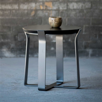Pictured here is the ever so sturdy Beaufort End Table with hand-forged table base and wood table top available with several iron finish and table top options.