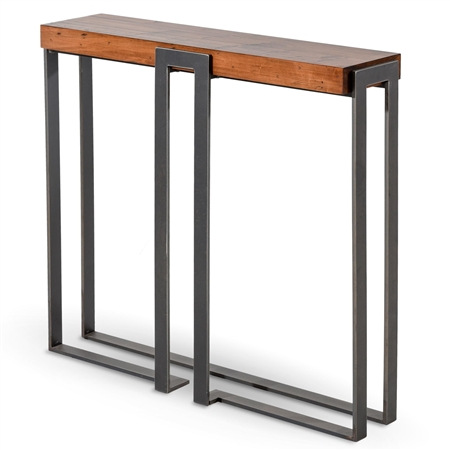 Pictured is the modern style 34-inch Watson cocktail table with clean iron lines and thick wood slab tabletop from Charleston Forge.