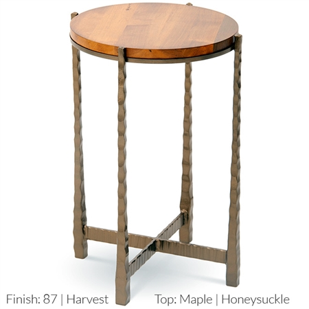 "Pictured is the Nash Round Drink Table hand crafted by the artisans of Charleston Forge, with a variety of fine finishes to choose from. 15"" dia. x 22.75"" H"