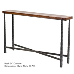 Pictured is the Charleston Forge manufactured Nash 54-in Console Table that measures 54-in x 10-in x 32-in with custom iron finishes and table top options to choose from.