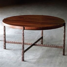 Pictured is the Nash 36-in Round Cocktail Table which measures 38-in by 38-in by 20.25-in with custom iron finishes and table top options to choose from.