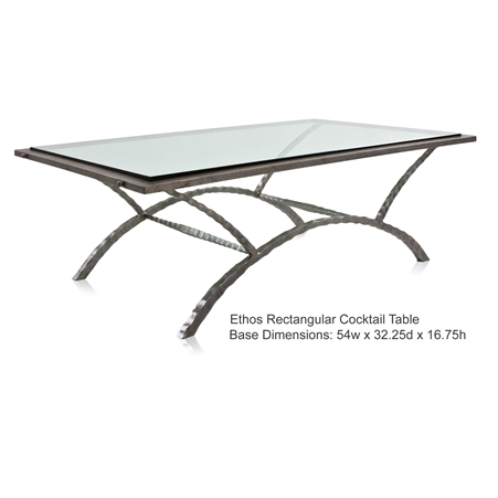 Pictured is the Ethos Rectangular Cocktail Table which measures 54-in by 32.25-in by 17.25-in with custom iron finishes and table top options to choose from.