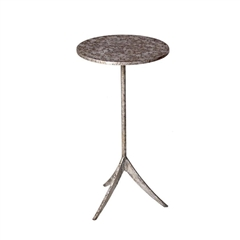 "Pictured is the Stiletto Drink Table hand crafted by the artisans of Charleston Forge, with a variety of fine finishes to choose from.  11.5"" dia. x 22"" H"