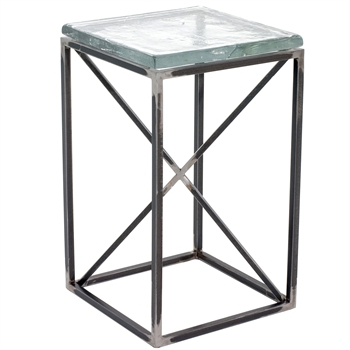 "Pictured is the Pacific Drink Table hand crafted by the artisans of Charleston Forge, with a variety of fine finishes to choose from.  W 14"" x D 14 x H 23"""