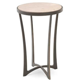 "Pictured is the Lotus Drink Table hand crafted by the artisans of Charleston Forge, with a variety of fine finishes to choose from.  14.5"" dia. x 22"" H"