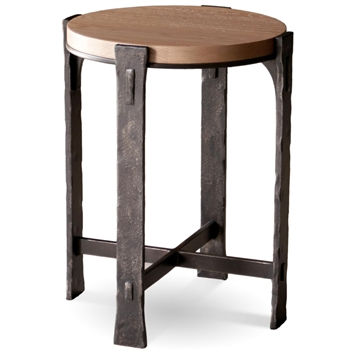 Pictured here is the Woodland Round Drink Table with a Burnished Iron finish on the table base and a drift wood oak top.