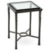 Pictured is the Omega Drink Table with glass table top from Charleston Forge. The solid wrought iron table base is available in several custom iron finish options.