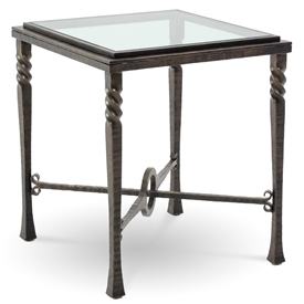 Pictured is the Omega Square End Table with glass table top from Charleston Forge. The solid wrought iron table base is available in several custom iron finish options.