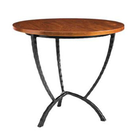 Pictured here is the Hudson Round End Table with hand-forged table base and wood table top available with several iron finish and table top options.