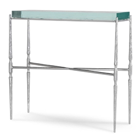 "Pictured here is the Calico Bay 34"" Console Table with a Brushed Silver finish on the iron base and a Seascape Glass top."