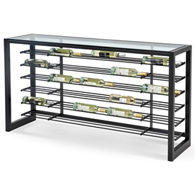 Pictured here is the Anderson Wine Console with with charcoal iron finish and glass top by Charleston Forge.