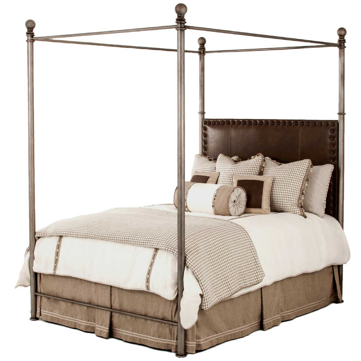 Davant iron canopy bed king and queen sizes for Iron bedroom furniture