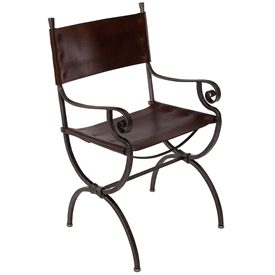 Pictured here is the Charleston Forge Legacy Dining Chair with arms, handcrafted in America, available in several custom iron finishes and leather seat options.