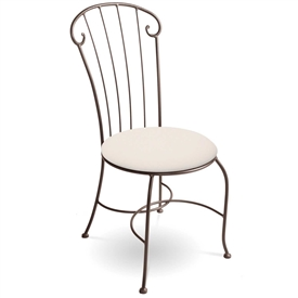 Pictured here is the Coventry Side Chair handcrafted by Charleston Forge. Available in several custom iron finishes and upholstered seat options.