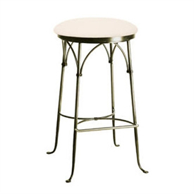 Pictured here is the Shaker Arch Backless Swivel Counter Stool with hand forged quality craftsmanship with fine iron finishes and upholstery options to choose from.