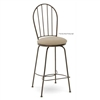 Pictured here is the Camille Swivel Counter Stool with Arms, quality hand forged construction with various iron finishes and leather or fabric upholstery options.