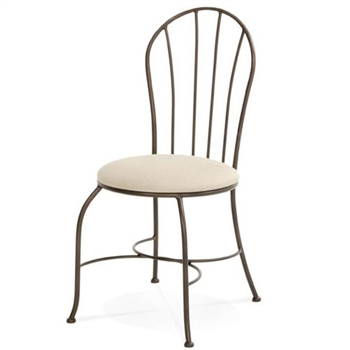 Pictured here is the Camille Side Chair handcrafted by Charleston Forge. Available in serveral custom finish and seat options.