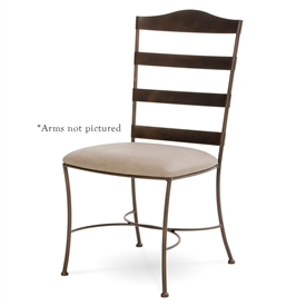 Pictured here is the Augustine Dining Chair with arm rests handcrafted by Charleston Forge - Available in several custom finish and seat options.