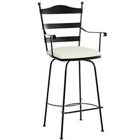 Pictured here is the Ladder Back Swivel Bar Stool with Arms with hand forged quality craftsmanship with fine iron finishes and upholstery options to choose from.