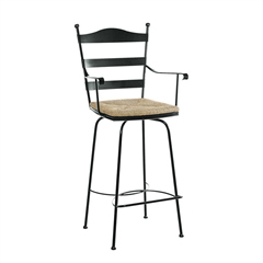 Pictured here is the Ladder Back Swivel Counter Stool with Arms with hand forged quality craftsmanship with fine iron finishes and upholstery options to choose from.