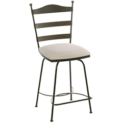 Pictured here is the Ladder Back Swivel Counter Stool with hand forged quality craftsmanship with fine iron finishes and upholstery options to choose from.