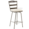 Pictured here is the Augustine Swivel Bar Stool with Arms, quality hand forged construction with various iron finishes and leather or fabric upholstery options.