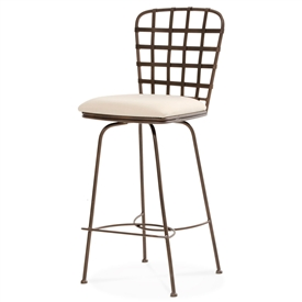 Pictured here is the Manchester Swivel Counter Stool , quality hand forged construction with various iron finishes and leather or fabric upholstery options.