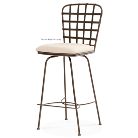 Pictured here is the Manchester Swivel Counter Stool with Arms, quality hand forged construction with various iron finishes and leather or fabric upholstery options.