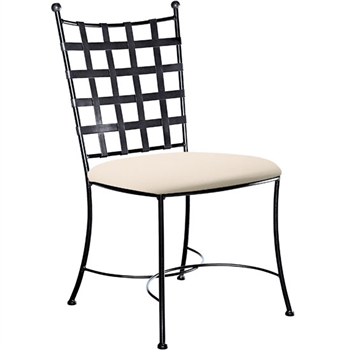 Pictured here is the Etrusche Wrought Iron Side Chair hand-forged by Charleston Forge. Available in several custom finish and seat options.