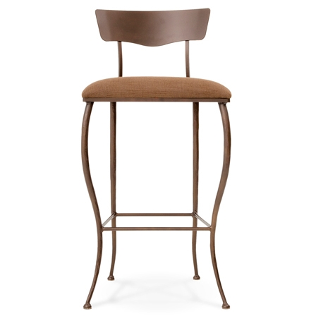 Pictured here is the Beck Bar Stool with hand forged quality craftsmanship with fine iron finishes and upholstery options to choose from.