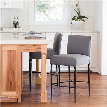 Pictured here is the Coastal Inspired Calico Bay Counter Stool with hand forged quality craftsmanship with multiple finishing options to choose from.