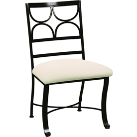 Pictured here is the Camino Dining Side Chair handcrafted by Charleston Forge available in several custom finish and seat options.