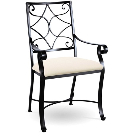 Pictured here is the Camino Scroll Dining Chair handcrafted by Charleston Forge. Available in serveral custom finish and seat options.