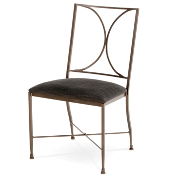 Pictured here is the Doughton Wrought Iron Side Chair hand-forged by Charleston Forge and Available in several custom finish and seat options.