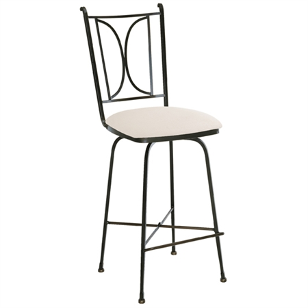 Pictured here is the Blackberry Road Swivel Counter Stool with hand forged quality craftsmanship with fine iron finishes and upholstery options to choose from.