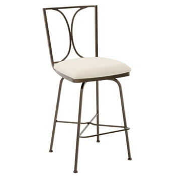 Pictured here is the Doughton Swivel Bar Stool , quality hand forged construction with various iron finishes and leather or fabric upholstery options.