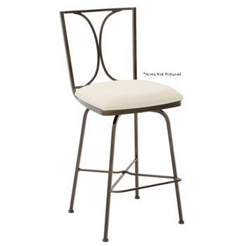 Pictured here is the Doughton Swivel Bar Stool with Arms, quality hand forged construction with various iron finishes and leather or fabric upholstery options.