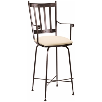 Pictured here is the Circa Swivel Bar Stool with Arms with hand forged quality craftsmanship with fine iron finishes and upholstery options to choose from.