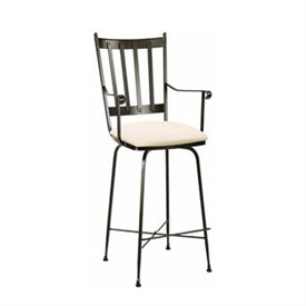 Pictured here is the Circa Swivel Counter Stool with Arms with hand forged quality craftsmanship with fine iron finishes and upholstery options to choose from.