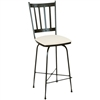 Pictured here is the Circa Swivel Bar Stool with hand forged quality craftsmanship with fine iron finishes and upholstery options to choose from.
