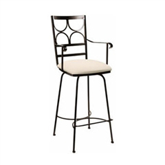 Pictured here is the Camino Swivel Counter Stool with Arms with hand forged quality craftsmanship with fine iron finishes and upholstery options to choose from.