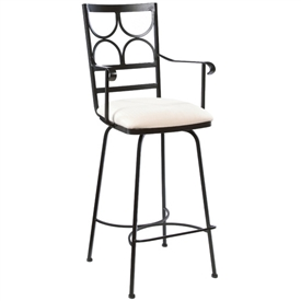 Pictured here is the Camino Swivel Bar Stool with Arms with hand forged quality craftsmanship with fine iron finishes and upholstery options to choose from.