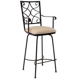 Pictured here is the Camino Scroll Swivel Bar Stool with Arms with hand forged quality craftsmanship with fine iron finishes and upholstery options to choose from.