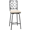 Pictured here is the Camino Scroll Swivel Bar Stool with hand forged quality craftsmanship with fine iron finishes and upholstery options to choose from.
