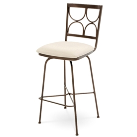 Pictured here is the Penelope Swivel Counter Stool , quality hand forged construction with various iron finishes and leather or fabric upholstery options.